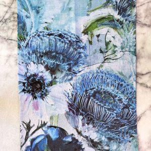 Botanical Blue Artichoke Tea Towel