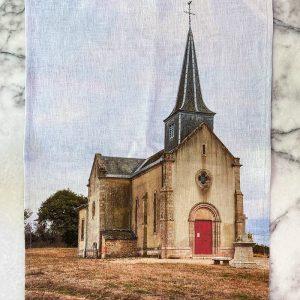 Sarlat Church Ramie Tea Towel